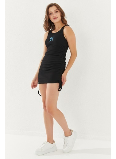 Reyon REYON Kadın Yanları Büzgülü Sıfır kol Elbise Siyah Siyah